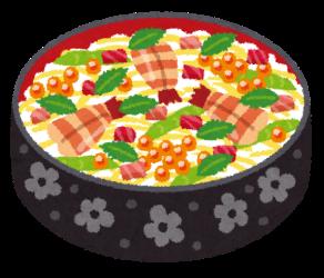 ・ちらし寿司 縁起の良い具材祝いの席に相応しく、鮮やかな彩りからひな祭りの定番になったとされています。具材の意味は、えび(長生き)れんこん(見通しがきく)豆(健康でまめに働ける)です。