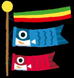 <鯉のぼり> 鯉のぼりは、江戸時代に町人階層から生まれた節句飾りです。 鯉は清流はもちろん、池や沼でも生息することができる、 非常に生命力の強い魚です。その鯉が急流をさかのぼり、 竜門という滝を登ると竜になって天に登るという中国の伝説にちなみ (登竜門という言葉の由来)子どもがどんな環境にも耐え、立派な人になるようにとの立身出世を願う飾りです。